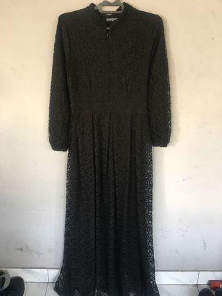 Gamis Dress Brokat Tile Pesta Mewah Black brand Marghon
