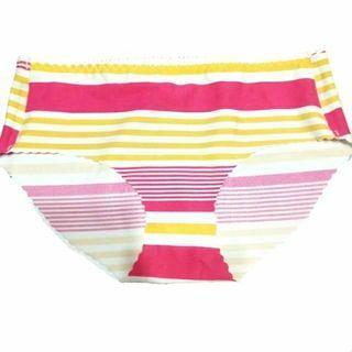萊卡無痕涼感 俏皮條紋 桃紅色+黃色+白色 三角褲內褲