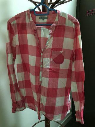 Checkered pink tops cotton