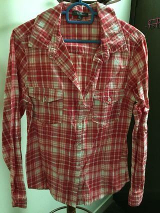 Red checkered tops cotton