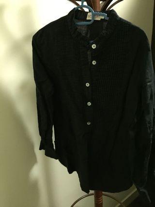 Black linen tops