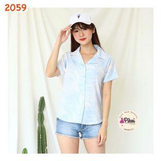 Kemeja summer biru muda / blouse pantai pastel / summer shirt beach / 2059