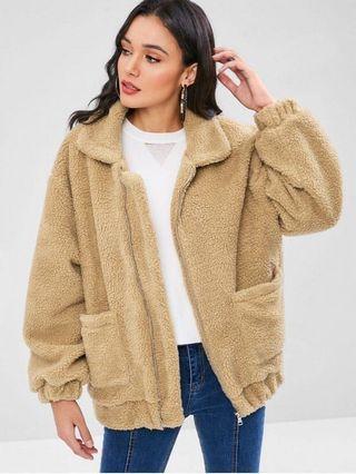 ZAFUL beige teddy coat