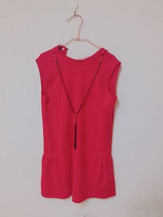 降價出清👏氣質紅色洋裝 超吸睛 附前面配件