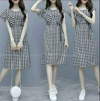 Aulia Dress remaja dress kotak dress katun dress casual dress korea