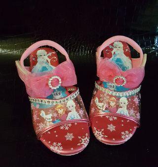 冰雪奇緣高跟鞋 elsa女童高跟鞋 亮紅色女童公主高跟鞋 愛莎公主 安娜公主 女童鞋
