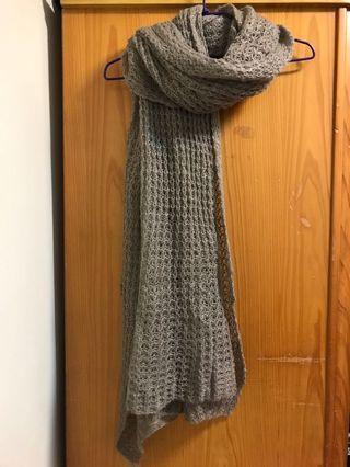 淺灰色細針織網洞圍巾