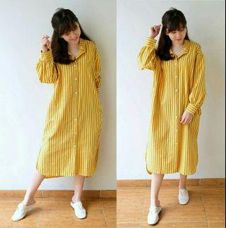Gamsal mustar dress tunik salur tunik katun kemeja tunik dress busui