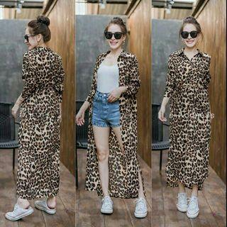 lorenjo long dress leopard dress kancing dress busui dress panjang