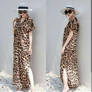 gamis honey dress leopard dress kondangan kaftan pendek dress vneck