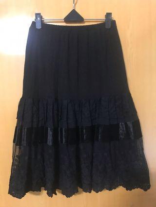 韓版 拼街雪紡蕾絲裙(全彈性)