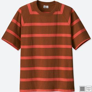 UNIQLO U UUU系列 男裝 圓領 條紋T恤 (短袖) L號 407045 重磅厚實天竺棉素材