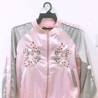 Pink flower embroidery bomber jacket