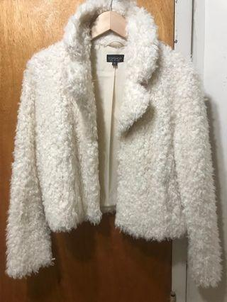Topshop fuzzy coat size 4