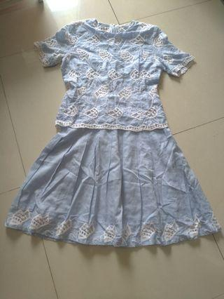 Dress biru muda bahan katun