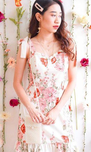 Bash clothing self tied floral sweetheart neckline dress