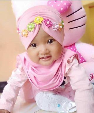 Jilbab baby READY ON MODEL PINK