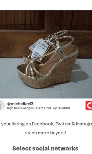 wedges heels gold High heels Hak