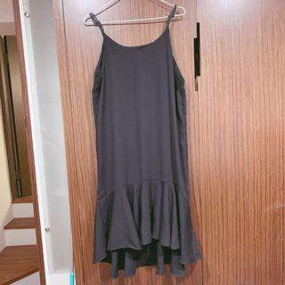 黑色長版魚尾裙洋裝