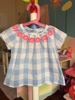 Checkered Blouse with Neon Pink Embroidery