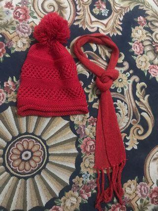 winter knitted scarf and hat