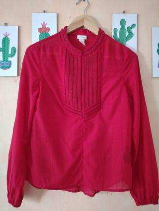 H&M conscious  red long Sleeve blouse