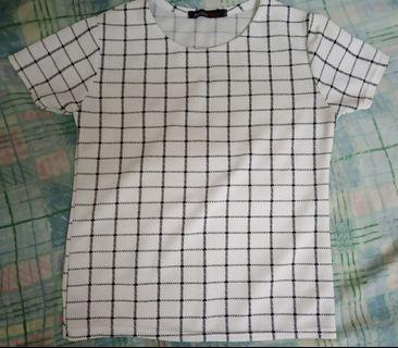 Black and White Grid Top