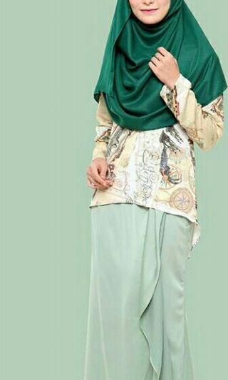 Elrah Waterfall Map Kurung in Mint Green size L