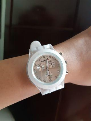 Jam tangan swatch white series ori singapore