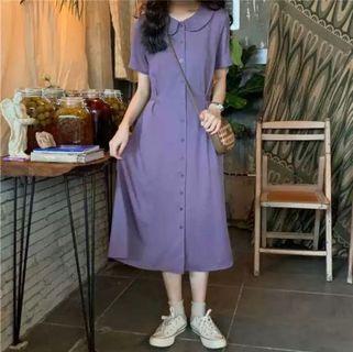 復古圓領紫洋裝