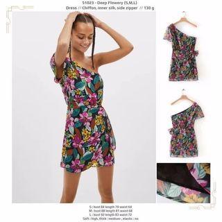 Deep Flowery (S,M,L) Dress -51023