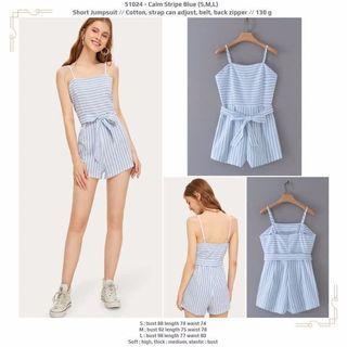 Calm Stripe Blue (S,M,L) Short Jumpsuit -51024