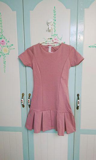 全新窄版粉紅短袖洋裝#五折清衣櫃