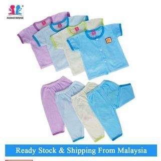Baju Lubang Baju Baby / Baby Eyelet Suit Cotton Long Pants (1pcs = Baju + Seluar) (Random Pick)