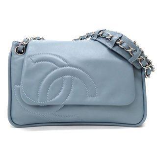 CHANEL 灰藍色羊皮LOGO單肩包 日本二手代購