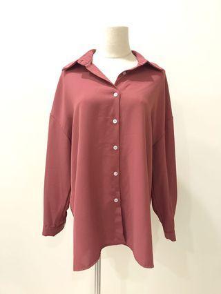 【現貨實拍-秋季新品】胭脂粉雪紡襯衫上衣 防曬開衫罩衫