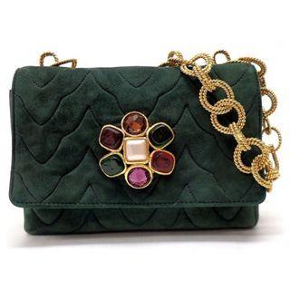 vintage CHANEL mini 寶石雕花金鍊綠色麂皮絨面手拿包單肩包晚宴包 日本二手代購
