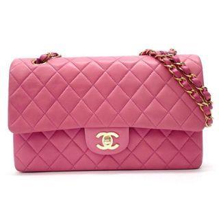25 CHANEL 粉色羊皮 鍊條包 CF 日本二手代購