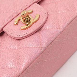 CHANEL 粉色魚子醬金鍊CF COCO 25 鍊條包 日本二手代購