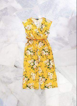 Plus Size Yellow Florist Jumpsuit / Romper (Ready stocks sold out, pre order available)