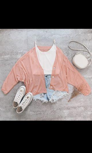粉色飛鼠袖薄針織防曬外套