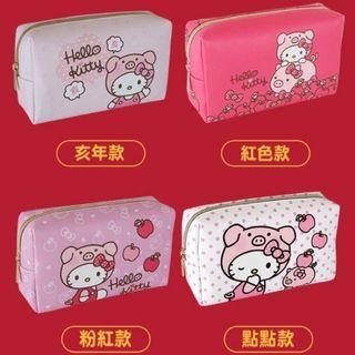 SANRIO 三麗鷗 7-11 開運金喜福袋 Hello kitty 凱蒂貓 豬年 化妝包/束口背包 絕版品