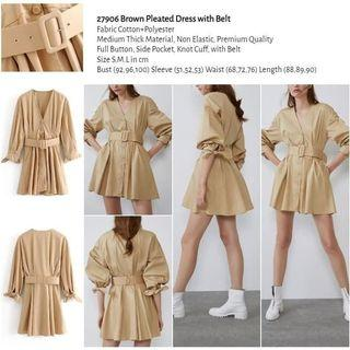 Brown Pleated Dress with Belt (size S,M,L) -27906