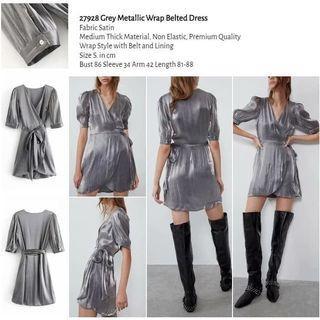 Grey Metallic Wrap Belted Dress -27928