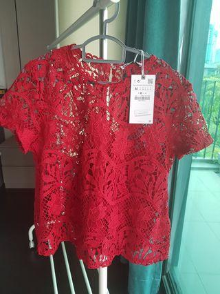 Zara red lace/crochet blouse - Brand New!