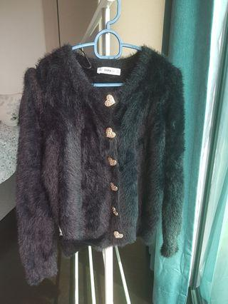 Zara furry cardigan with heart buttons