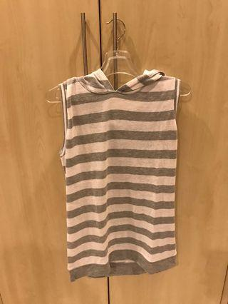 JUSTICE GREY AND WHITE STRIPES TOP