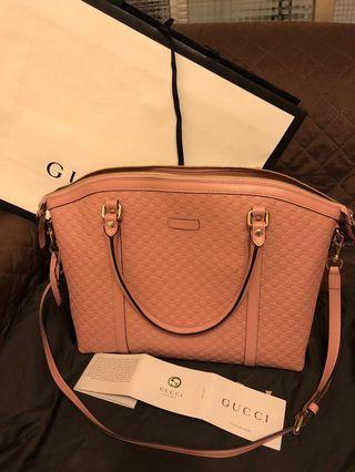 Gucci 粉紅色的牛皮兩用包