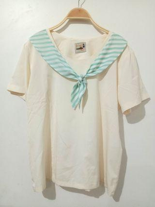 Korean blouse | White top | white blouse | cute blouse | pita blouse | cream top | broken white blouse
