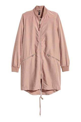 H&M 粉色莫代爾混紡風衣外套